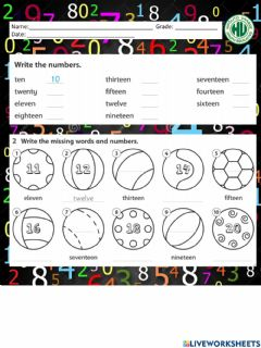 Ficha interactiva Numbers from 11 to 20