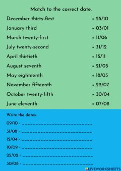 Interactive worksheet Dates exercise