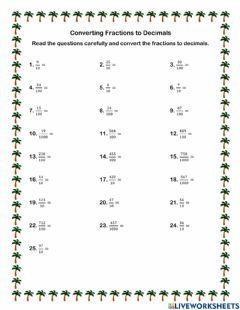 Interactive worksheet Converting Fractions to Decimals I