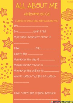 Interactive worksheet All about me!