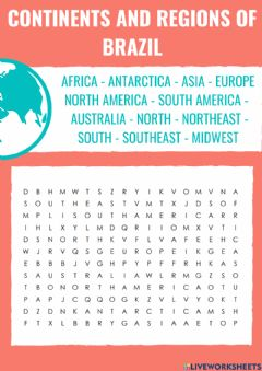 Ficha interactiva Geography - Continent and Brazilian Regions