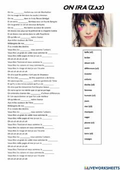 Interactive worksheet CHANSON: ON IRA (Zaz)