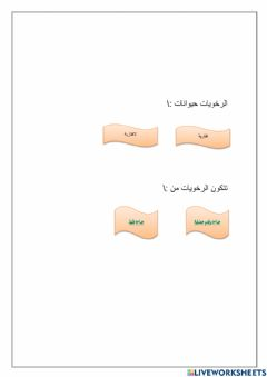 Interactive worksheet الرخويات
