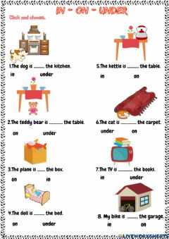 Interactive worksheet My house (Prepositions)