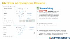 Interactive worksheet G5 Order of Operations Revision PART 1