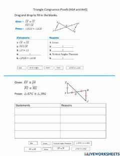 Interactive worksheet Triangle Congruence AAS and ASA