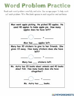Interactive worksheet Word Problems 3