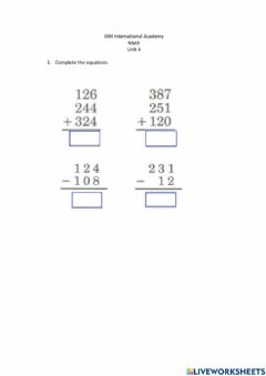 Interactive worksheet Sums
