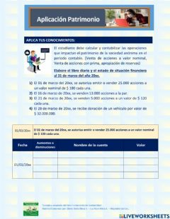 Interactive worksheet Patrimonio
