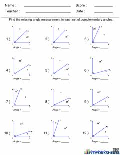 Interactive worksheet Complementary Angles