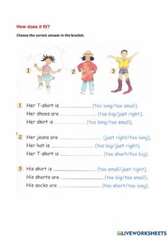 Interactive worksheet How does is fit?