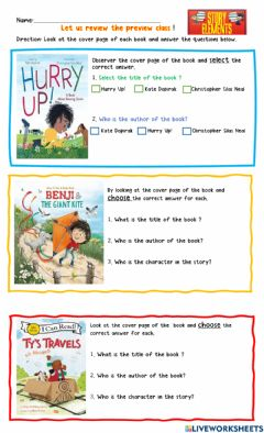 Interactive worksheet Story Elements