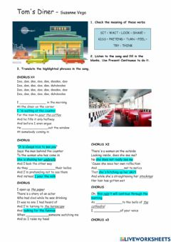 Interactive worksheet Tom's Diner -  by Suzanne Vega