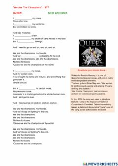 Interactive worksheet We are the champions
