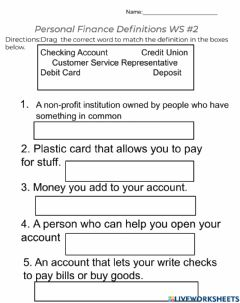 Interactive worksheet Personal Finance - Definitions WS 2
