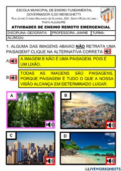 Interactive worksheet Paisagens