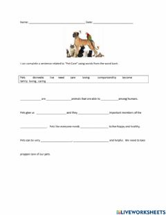 Interactive worksheet Pets care fill in the blanks