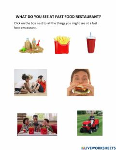 Interactive worksheet What Do You See at a Fast Food Restaurant