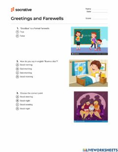 Interactive worksheet English Test greetings and farewells
