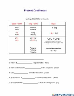 Ficha interactiva ING form of the verb