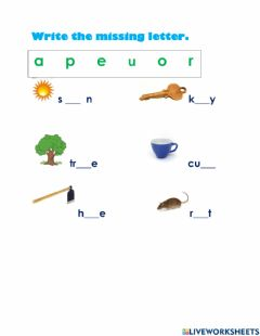 Interactive worksheet Missing letter