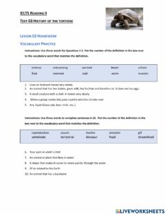 Interactive worksheet IELTS Vocabulary Practice History of the Tortoise