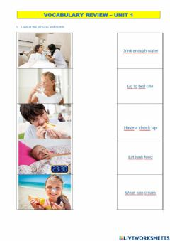 Interactive worksheet Healthy - unhealthy vocabulary