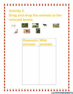 Interactive worksheet Drag and drop the animals to the relevant boxes