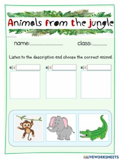 Interactive worksheet Animals from the jungle