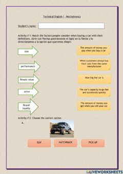 Interactive worksheet Types of cars & car parts