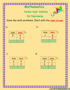 Interactive worksheet Double digit addition -1