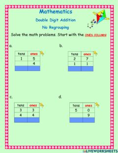 Interactive worksheet Double digit addition -4