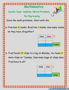 Interactive worksheet Double digit addition -word problem -2