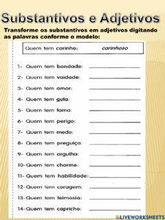 Interactive worksheet Substantivos e Adjetivos