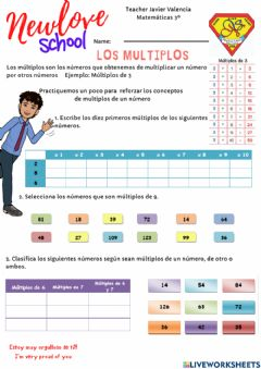 Interactive worksheet Multiplos de un número