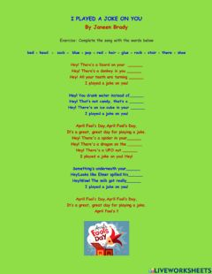 Interactive worksheet April Fool's Day song