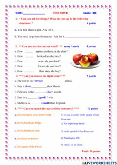 Interactive worksheet Much many