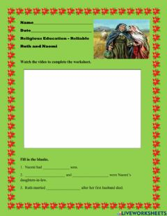 Interactive worksheet Ruth and Naomi - Reliable