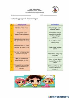 Interactive worksheet Murid bertanggungjawab