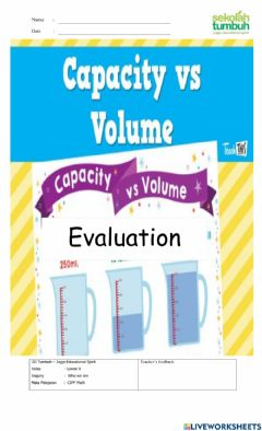 Interactive worksheet Volume and Capasity-A
