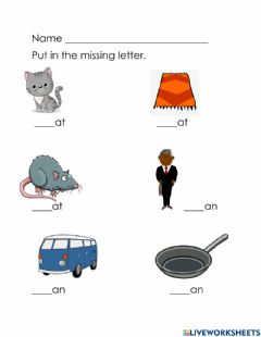 Interactive worksheet At, an word family  review