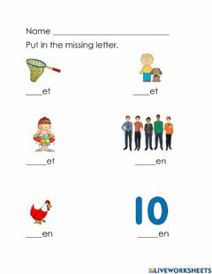 Interactive worksheet Et, en word family review