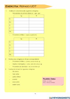 Interactive worksheet Repaso pronombres personales