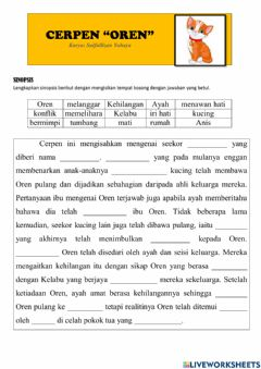 Interactive worksheet Cerpen oren