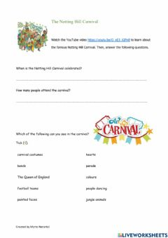 Interactive worksheet The Notting Hill Carnival