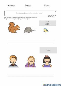 Interactive worksheet Writing with Adjectives