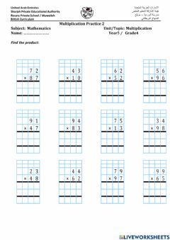 Interactive worksheet Long Multiplication practice