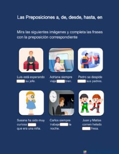 Interactive worksheet Las Preposiciones