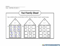 Interactive worksheet Fact Families (X and ÷)