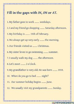 Interactive worksheet Time prepositions in, on and at